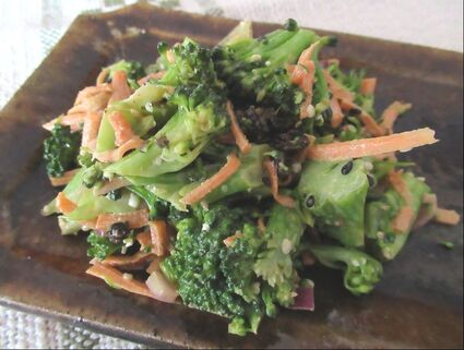 Broccoli salad on a platter made by Willi Singleton.